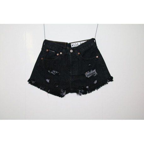 Levis 501 short jeans nero destroyed
