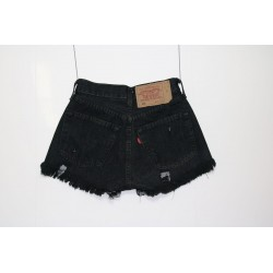 Levis 501 short jeans nero destroyed