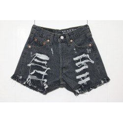 LEVIS SHORT 501 NERO STRAPPATO DESTROYED Capo Unico 43