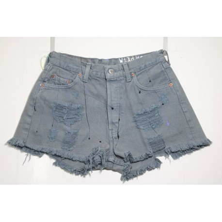LEVI'S 501 SHORT GRIGIO DESTROYED CON VERNICE